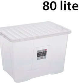 Kunststof Opbergbox 80 liter | 60 x 40 x 42 cm | Transparant met deksel