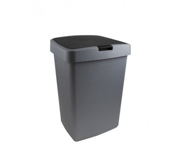 Sunware Sunware Delta Recycle Bin - 50L - with rocker cover - Incl. Fixing ring for Garbage - Metal / Black