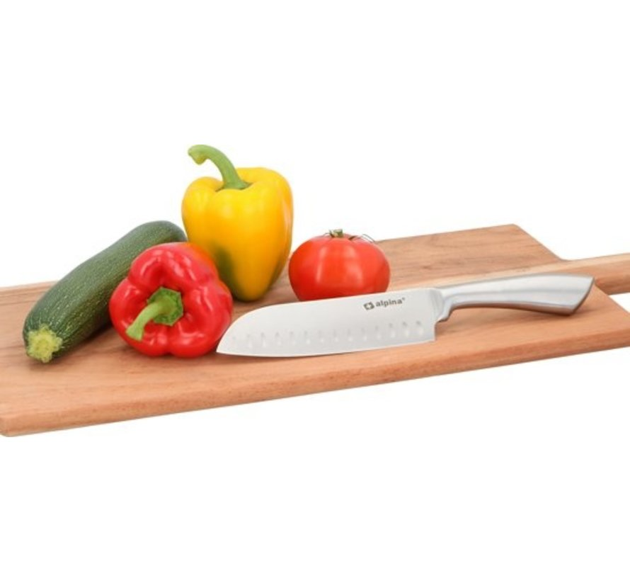 Alpina Santoku knife - 31.5 cm - Stainless steel - rounder for Meat, Fish And Vegetables - Japanese origin