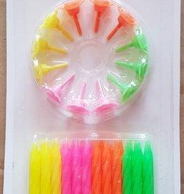 Taartkaarsjes 24 stuks Fluor  kleuren + 12  taart houders