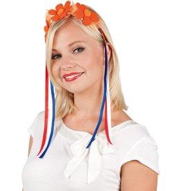 Tiara met Bloemen - Oranje