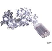 Led verlichting bloem zilver 10l. op bat