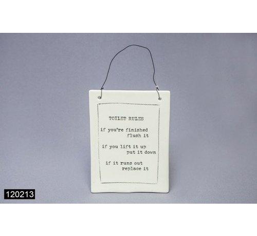 Tegel met Tekst Toilet Rules 14 x 19 cm