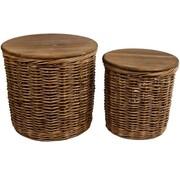 Side Table / Wicker Basket Joris Set Round
