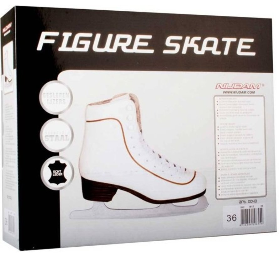 Nijdam 0043 Figure Skating Classic Leather - Men - White - Size 42