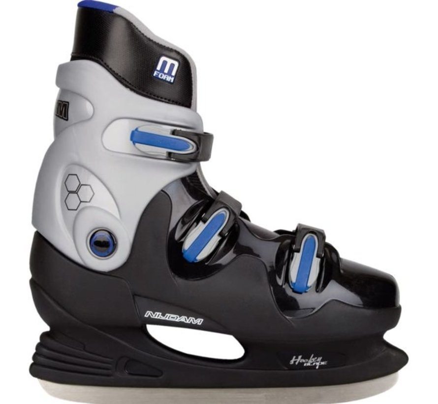 Nijdam 0089 Ice Hockey Skates - Hard Boot - Schwarz / Blau - Größe 41
