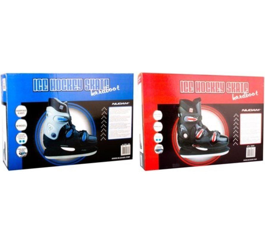 Nijdam 0089 Ice Hockey Skates - Hard Boot - Schwarz / Blau - Größe 42