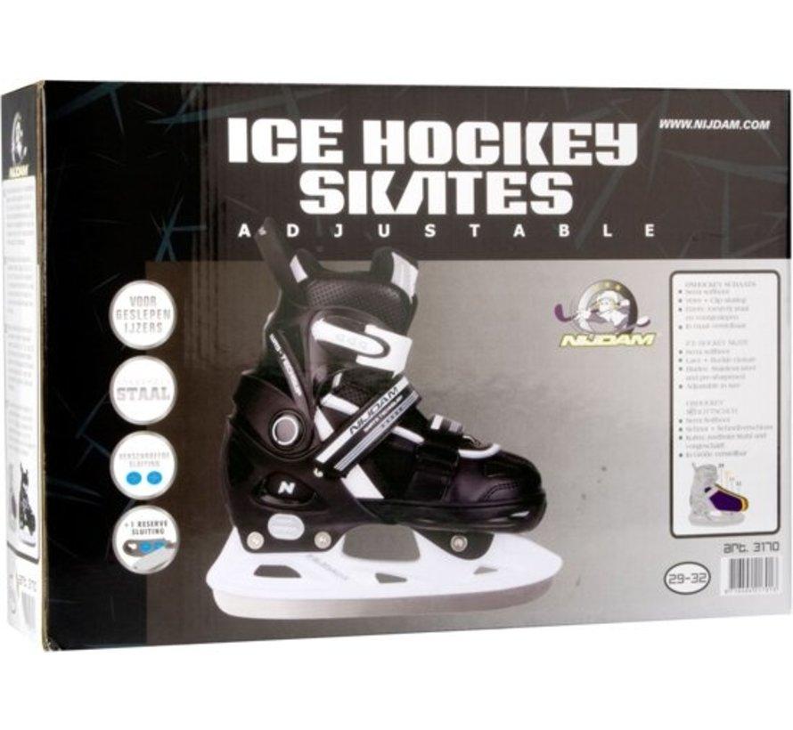 Nijdam 3170 Junior Eishockey Schlittschuhe - Einstellbare - Semi Soft-Boot - Schwarz / Weiß - Größe 33-36