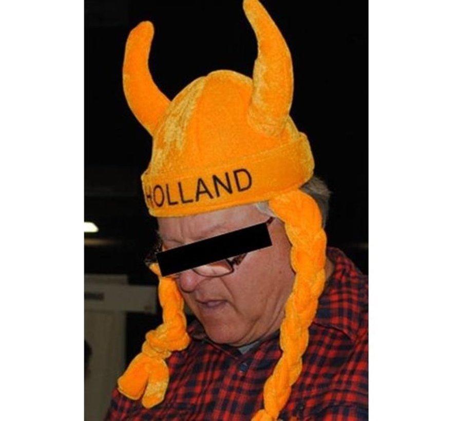 Wikinger-Hut mit zwei Hörnern und Borten