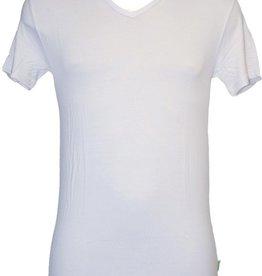 Boru Bamboe Heren T-shirt V-hals Wit-L