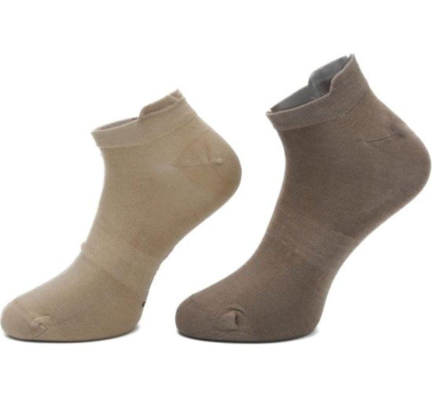 Boru Bamboe Sokken Short met lipje Beige (3 paar)-31/35