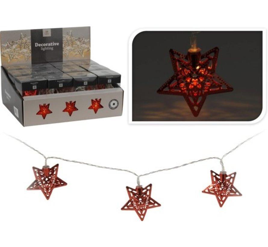 Ledverlichting \ Kerstverlichting 10 x  Led met Ster   Kleur Rood
