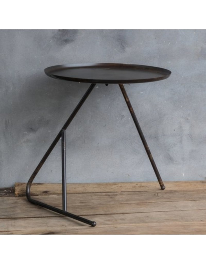Ronde Metalen Salontafel.Ronde Metalen Tafel Salontafel Bijzettafel 47x50cm Brons Bruin Zwart Old Look Vintage Industrieel
