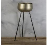 Metalen vaas op pooten goud met zwart 30x30x74cm
