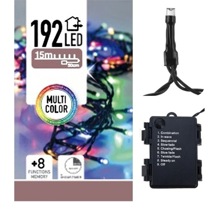 Decorativelighting Kerstverlichting 192 Led'S - Multicolor - Op Batterij