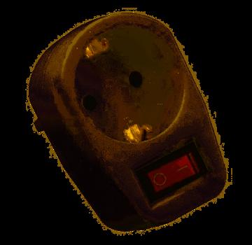 Enkele Doorvoerstekker met randaarde   mét schakelaar