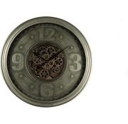 Klok wandklok industrieel robuust bewegende tandwielen - metaal - grijs 60 cm