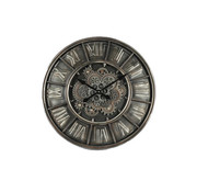 Clock Wall Clock Ø 60cm Metal Gears industrial Gray