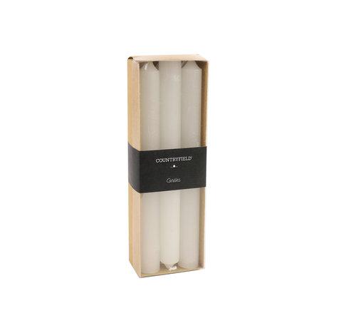 Countryfield Set van 6 kaarsen Countryfield 20cm | Wit