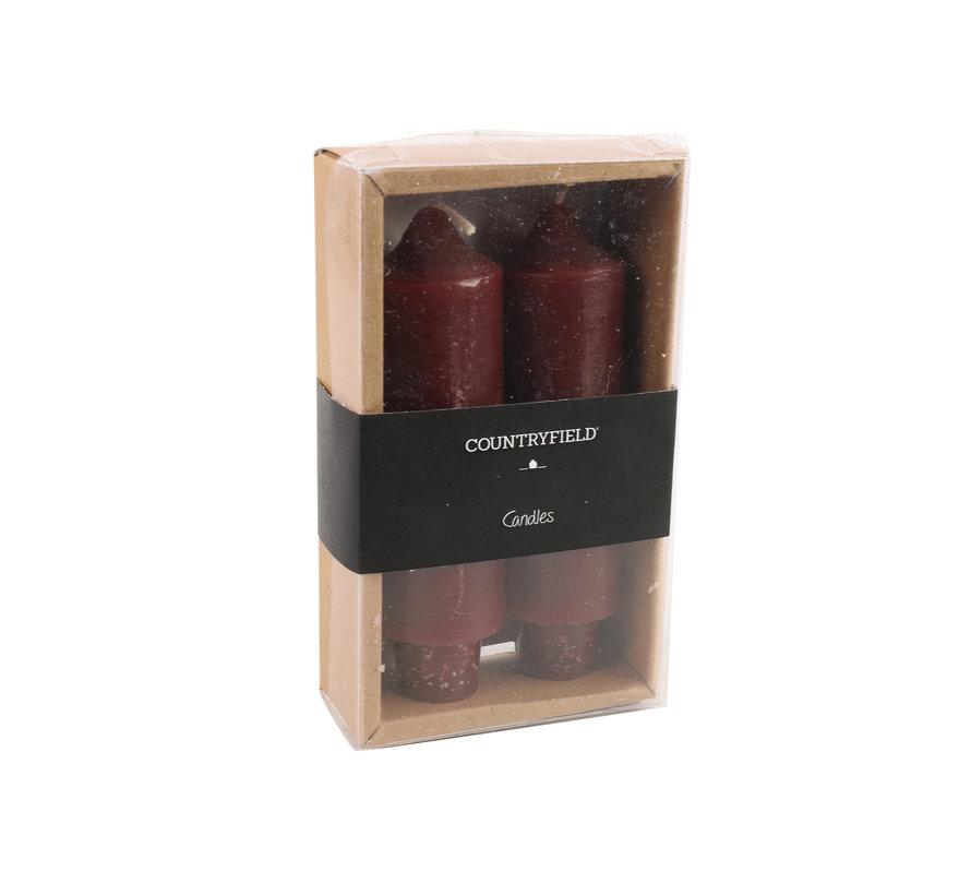 Set van 2 kaarsen Countryfield 12,5cm | Aubergine