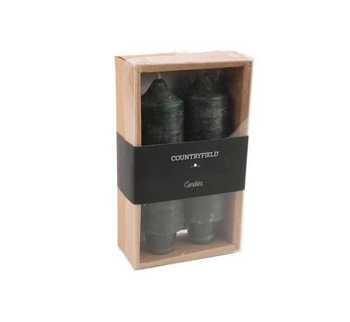 Countryfield Set van 2 kaarsen Countryfield 12,5cm | Donkergroen