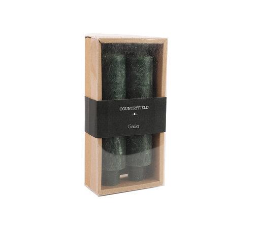 Countryfield Set bestehend aus zwei Kerzen Country 15,5cm | Dunkelgrün