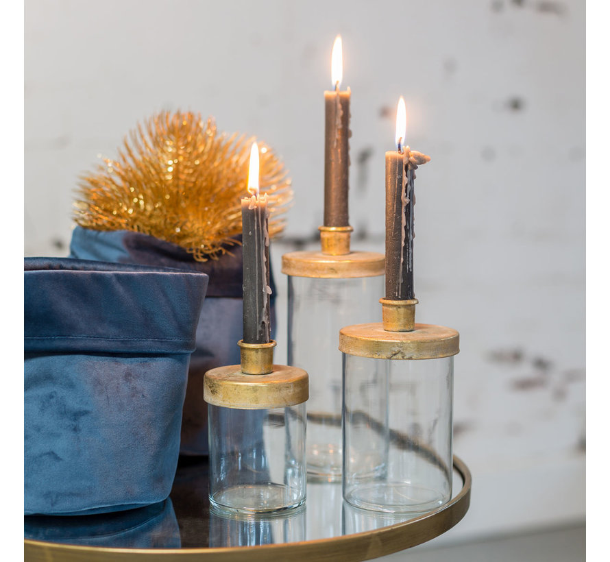 Set bestehend aus zwei Kerzen Country 15,5cm | Dunkelgrün