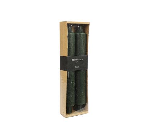 Countryfield Set van 2 kaarsen Countryfield 25cm | Donkergroen