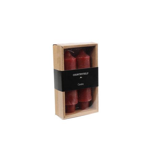 Countryfield Set bestehend aus zwei Kerzen Country 12,5 cm | rot