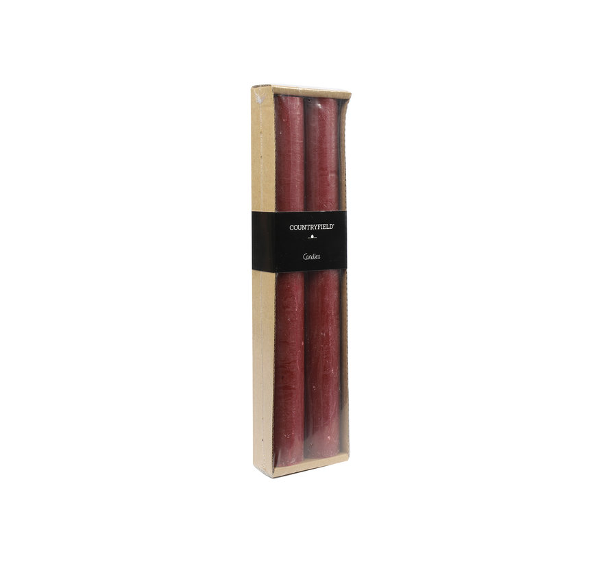 Set van 2 kaarsen Countryfield 25cm | Rood