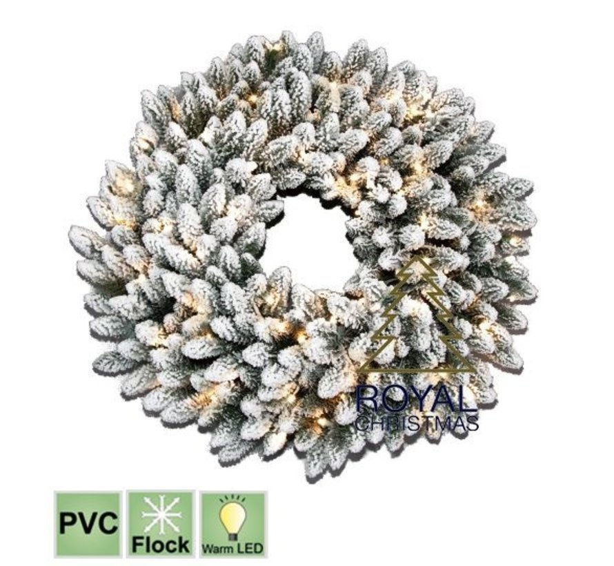 Christmas wreath Chicago 150 cm - snow - Warm White LED | Royal Christmas®