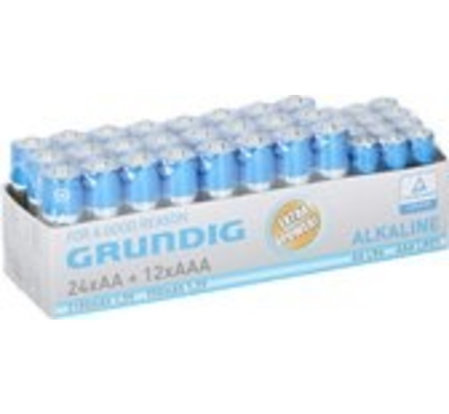 Grundig batterijen - 36 stuks - 12x AAA, 24x AA