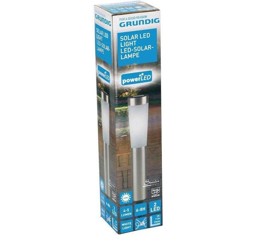 LED stainless steel wedge floor garden lights solar lantern 7,5x56cm