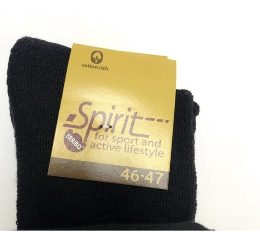 Spirit Sportsokken - Maat 46-47 - Zwart - 4 paar