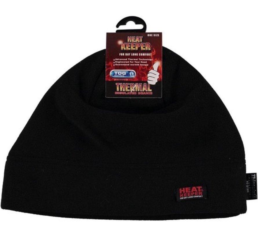Heat Keeper Thermo heren thinsulatie fleece muts zwart - One size