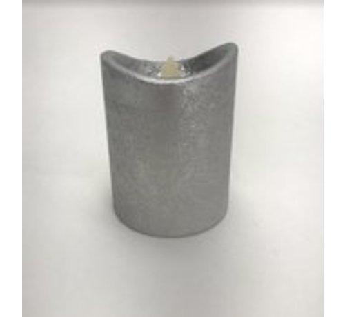 Led Kaars m/bewegende vlam - Zilver - met timerfunctie