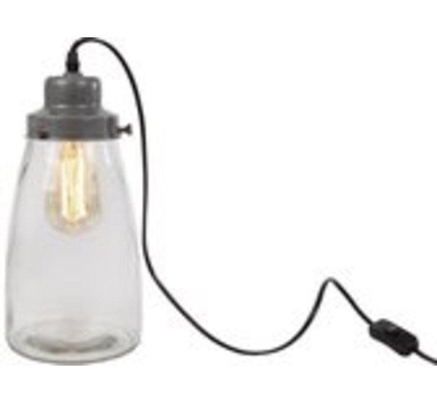 Van Manen Tafellamp 'growpot' 15x15x32 Cm Metaal/glas Zilver