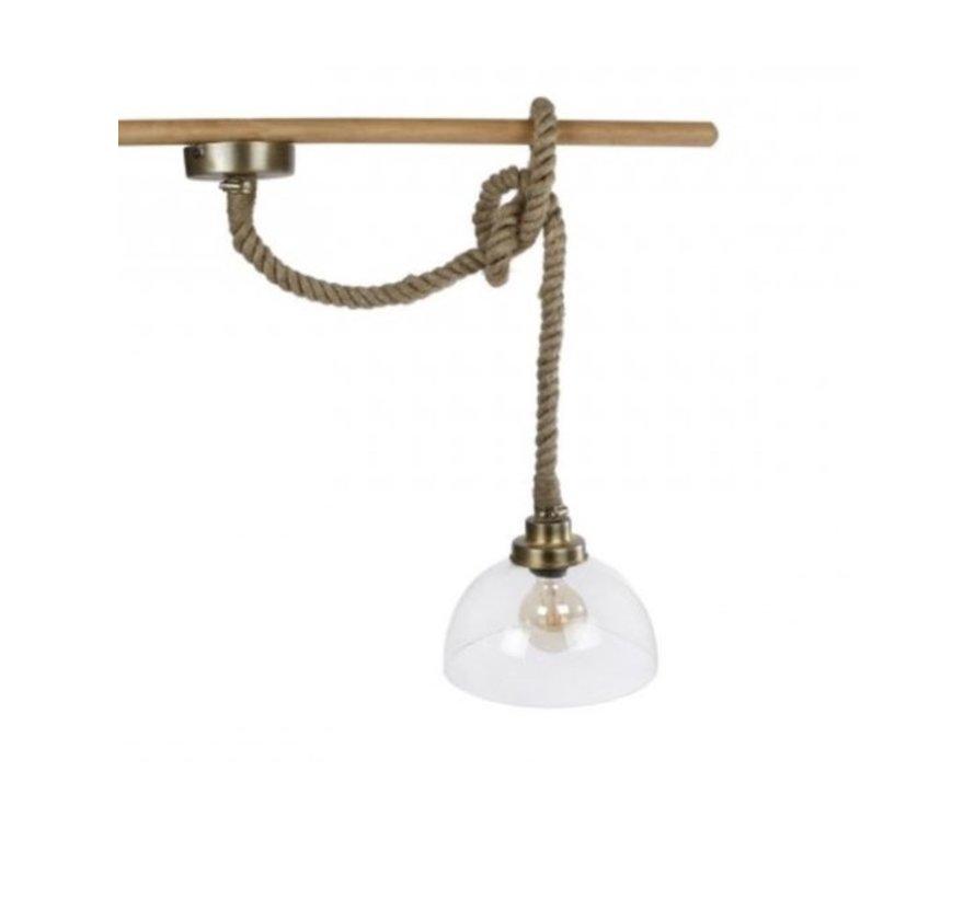 Hanglamp rond dik touw helder glas