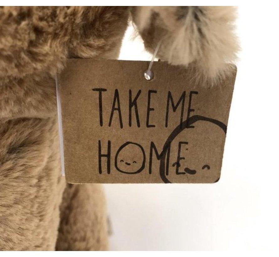Take Me Home Knuffel Eland 30 Cm Pluche Bruin