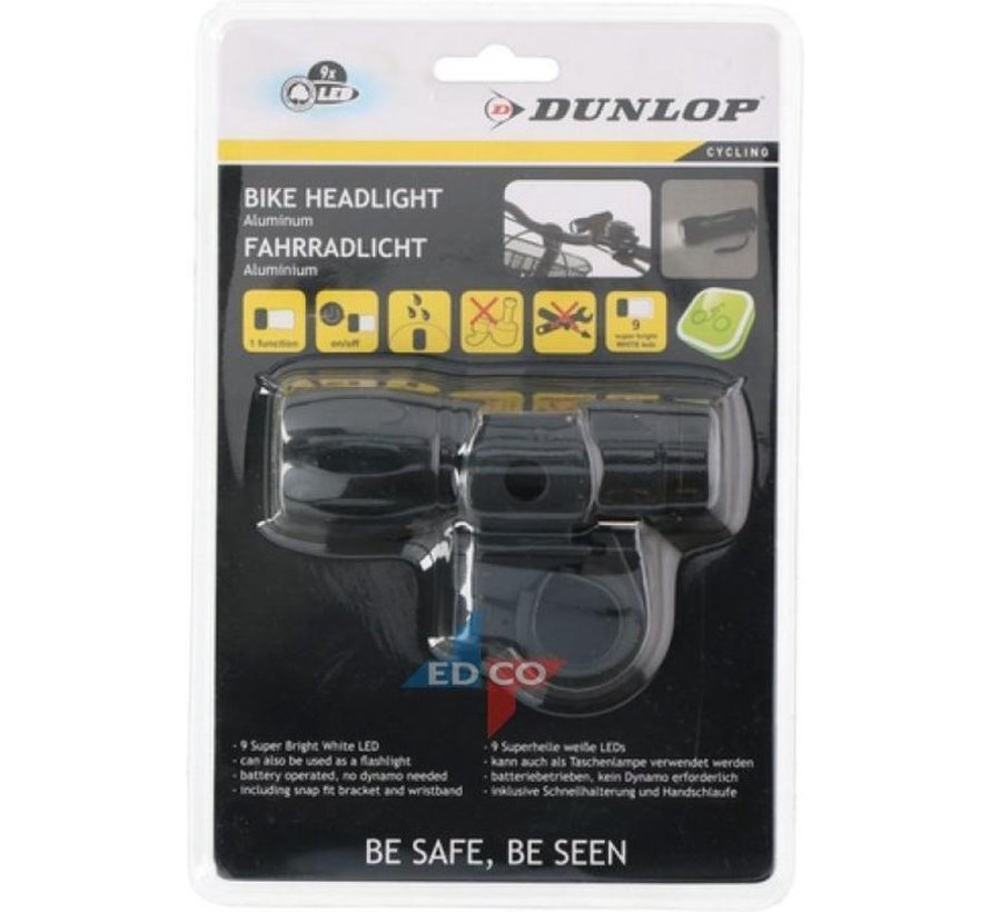 Dunlop - Fiets Voorlicht - Zaklamp - LED - Zwart