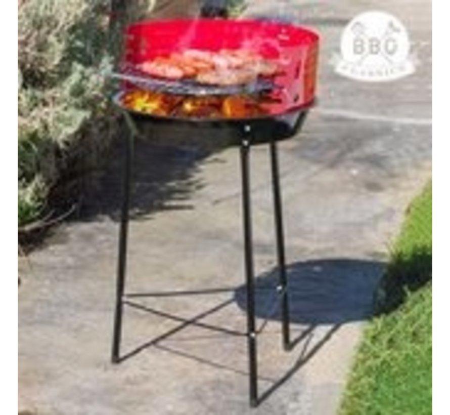 BBQ Collection Houtskoolbarbecue op poten - Verstelbare Grill BBQ - Halfopen - Ø33 cm - Zwart/Rood