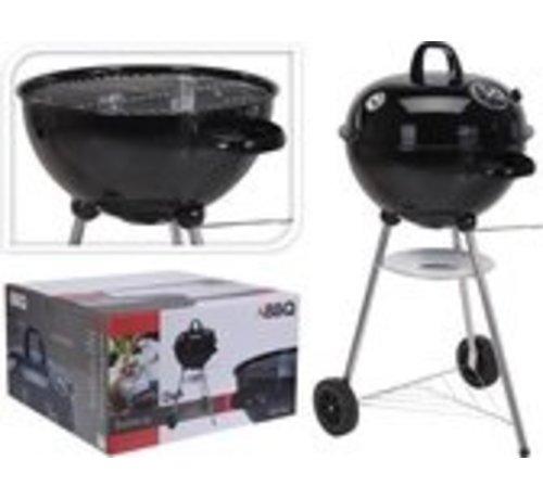 Ronde houtskool barbecue met thermometer (Zwart)