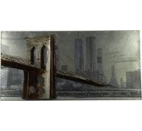 Schilderij Brooklyn Bridge metaal 3D 120 cm