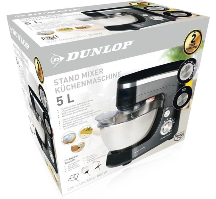 Dunlop food - 5l- stainless steel bowl - 800 Watt - black / silver - beater, whisk and dough hook - CY-617