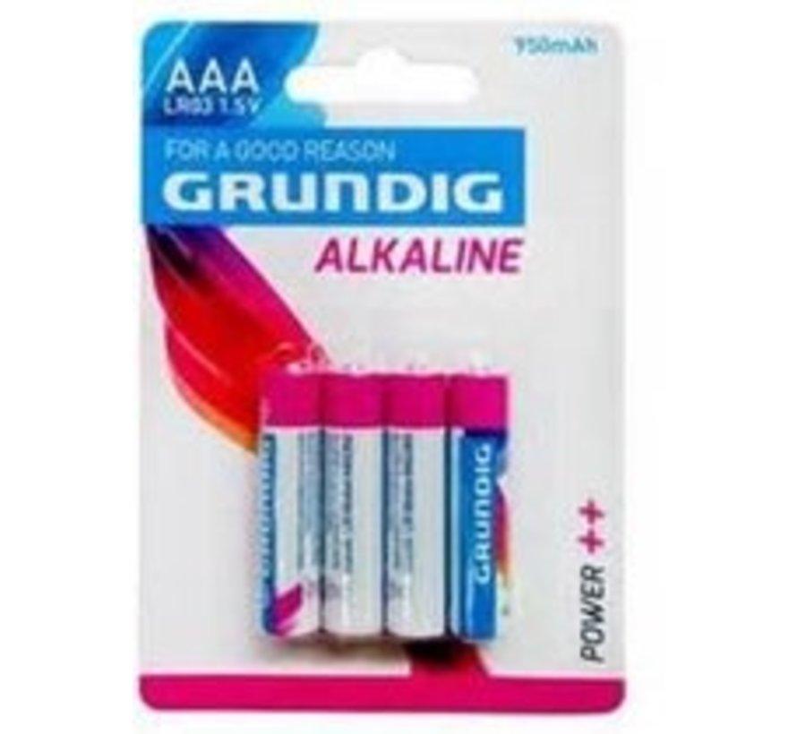 Grundig - Grundig AAA Batterijen Alkaline 4 Stuks 950mah