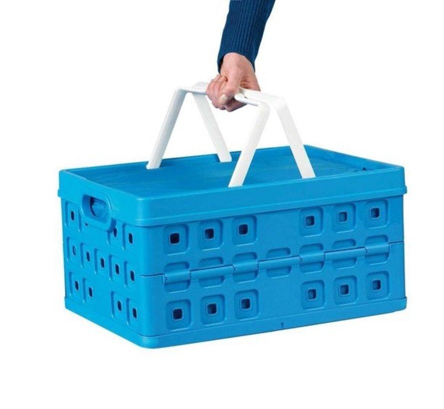 Sunware Square Vouwkrat - Met 2 extra handgrepen & koeltas - 32 l - blauw/wit