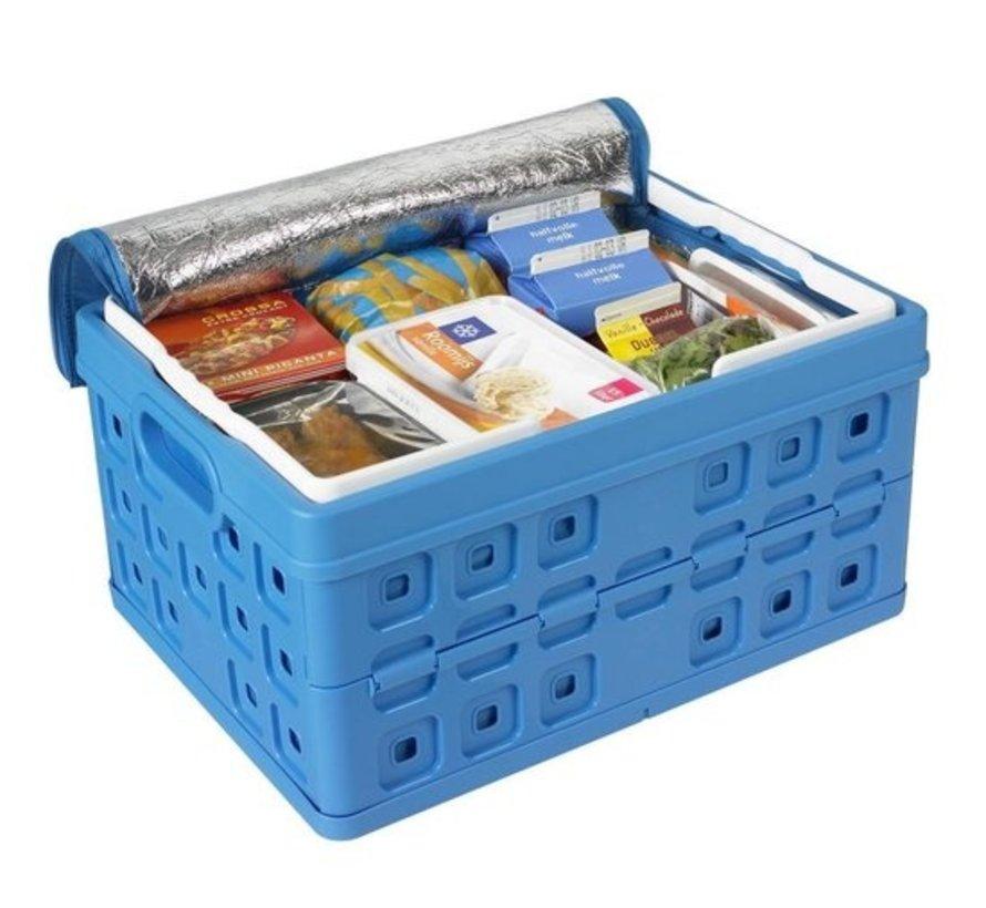 Sunware Platz Klappkiste - Mit zwei zusätzlichen Griffen & Kühltasche - 32 L - blau / weiß