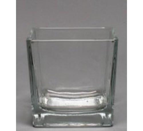 Accubakje glas - Transparant - 8 cm