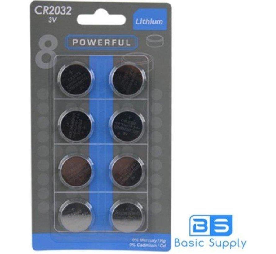 3V CR2032 Lithium-Batterie-Power Full - 8 Stück
