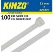 Kinzo Kabelbinders 3.6x300mm wit 100 stuks